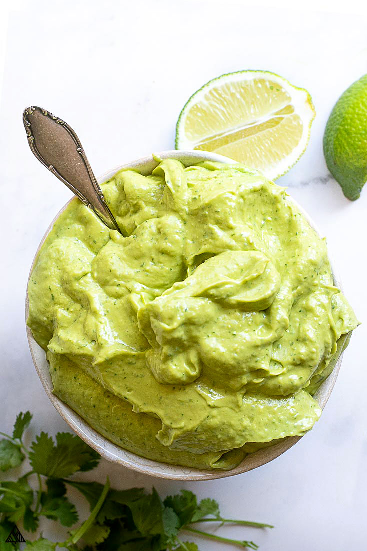 Top view of avocado sauce in a bowl