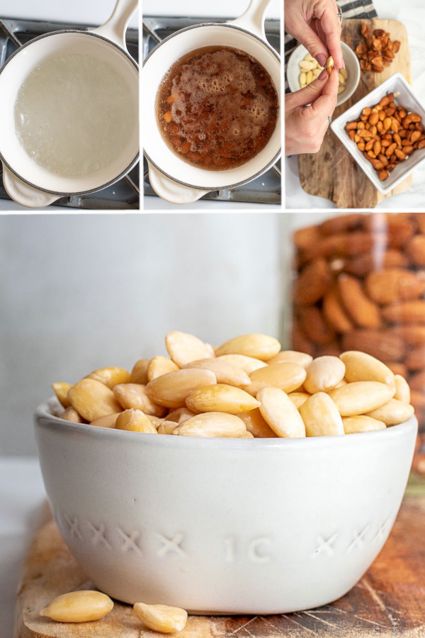 How to blanch almonds is as easy as soaking and pinching your almonds — the perfect DIY to save you money and late night grocery runs! #howtoblanchalmonds #blanchalmonds