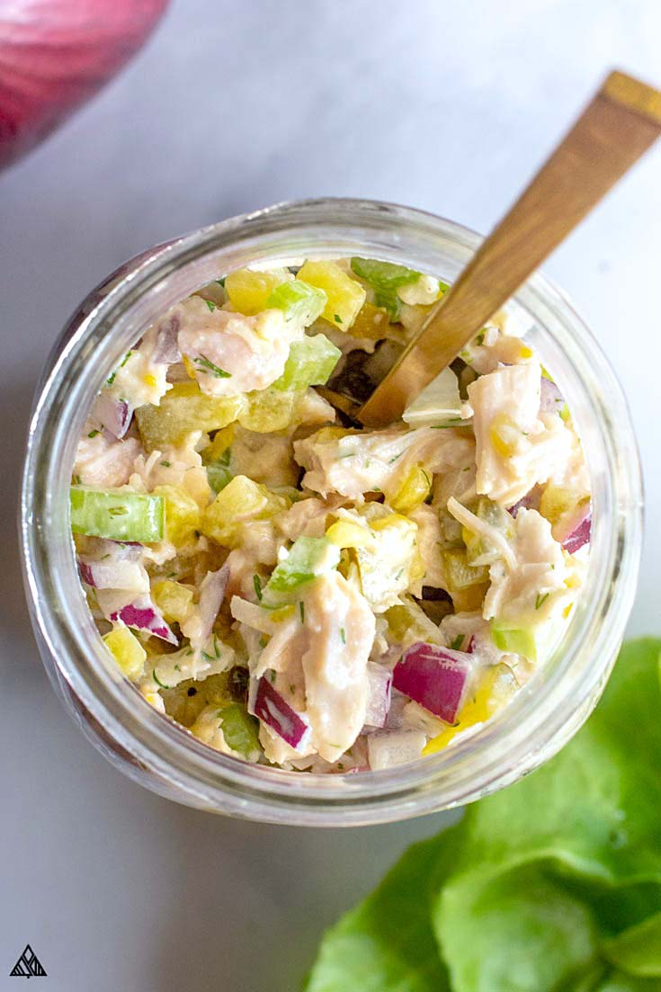 Top view of chicken salad in a jar