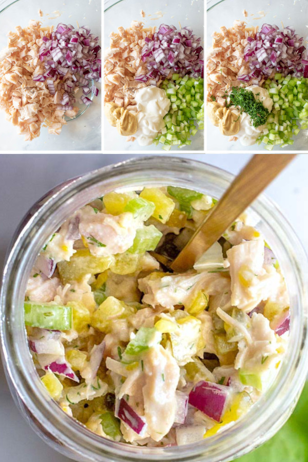 Want to know one of the most underrated but delicious low carb foods? 🕵️‍♀️ . Pickles! They're so full of flavor and low in carbs, so I add them to a TON of my low carb recipes — like this canned chicken salad recipe. They're a great way to spice up your meal plan with something a little more interesting, click the link in my profile for the recipe! #ketodillpicklechickensalad #lowcarbdillpicklechickensalad