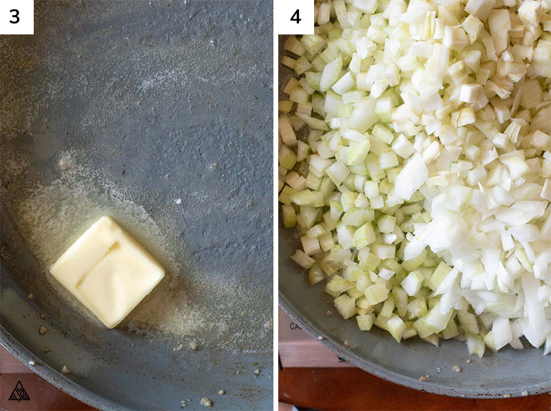 Chopped cauliflower and a butter in a pan