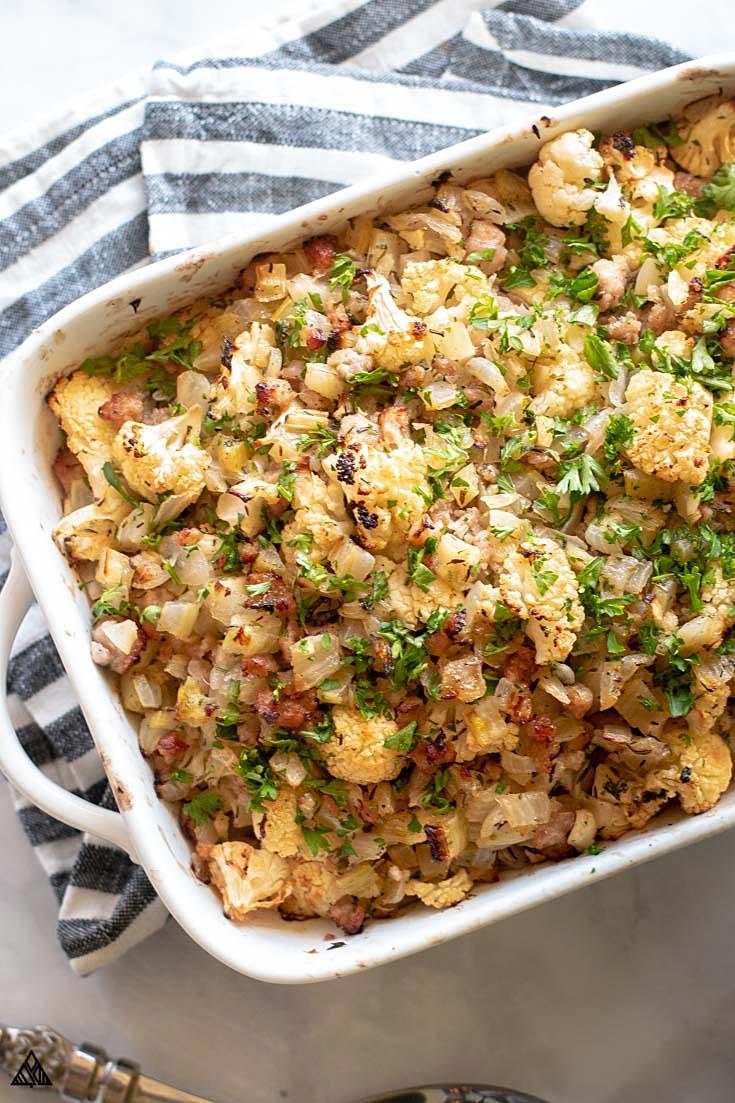 Cauliflower stuffing in a casserole dish