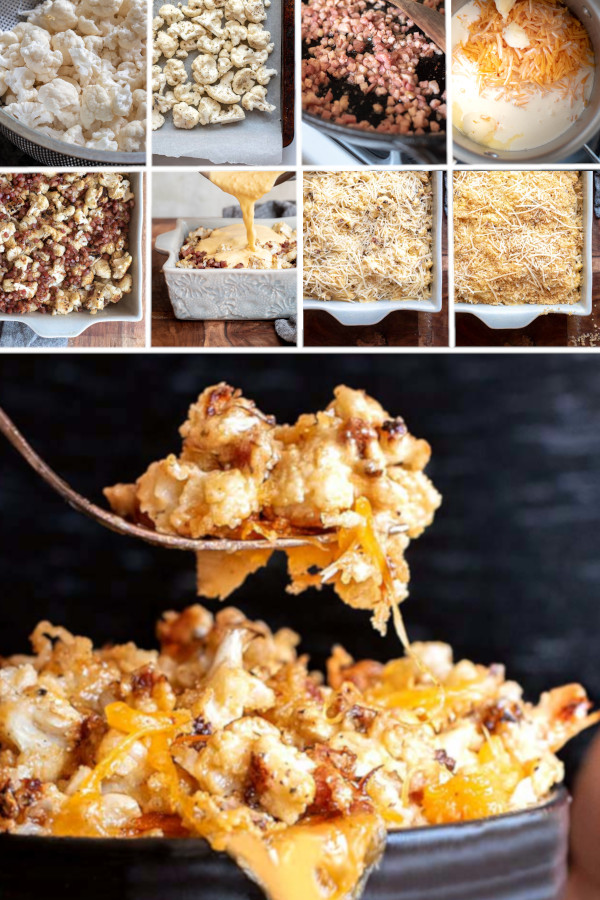 No joke, this low carb cauliflower mac and cheese is WAY tastier than the regular kind. #lowcarb #keto #glutenfree #grainfree #healthy #recipe #cauliflower #pancetta #cheese #cheddarcheese #creamcheese #whippedcream #parmesancheese #butter #italianseasoning #crockpot #baked #oven #instantpot #casserole