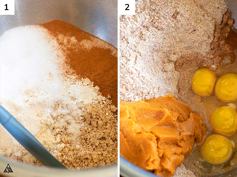 Mixing all the ingredients for gluten free pumpkin bread