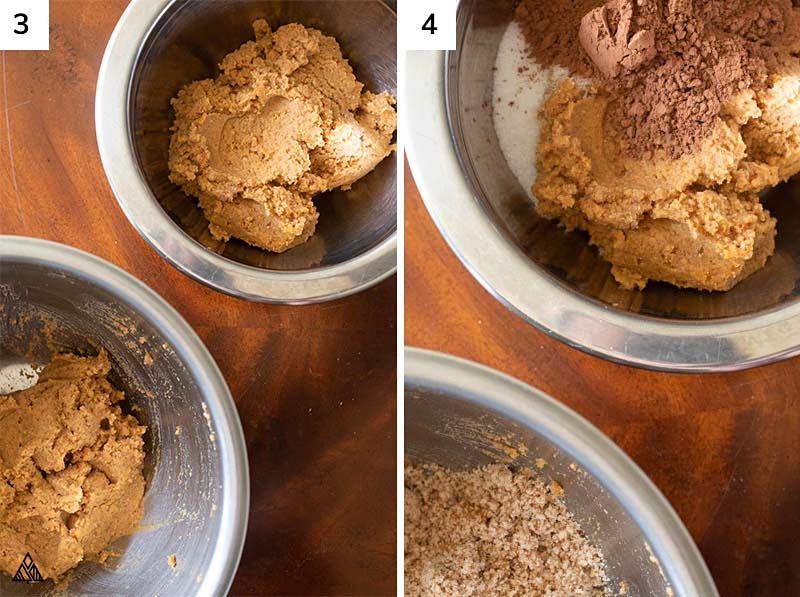 Separating the dough and the cocoa