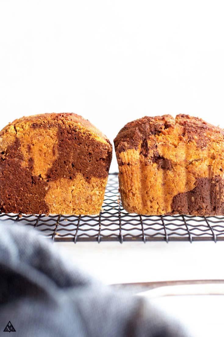 2 loaves of gluten free pumpkin bread on a baking tray