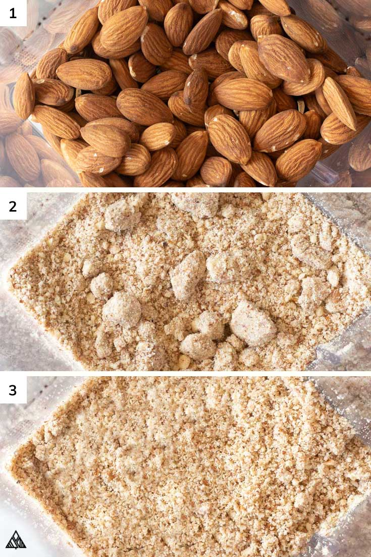 Steps in making almond meal