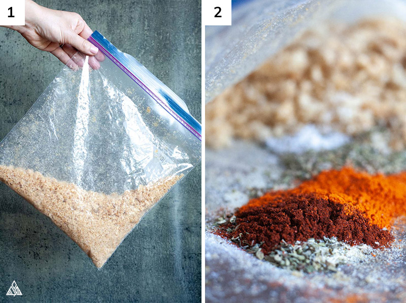 Spices for keto fried chicken mixed in a ziploc