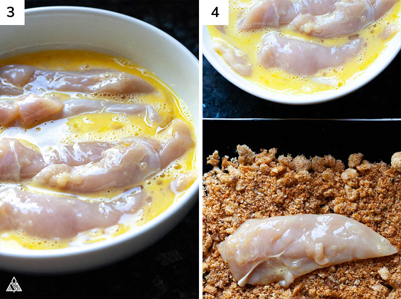 Chicken dipped in an egg-mayo mixture then rolled in the pork rind mixture