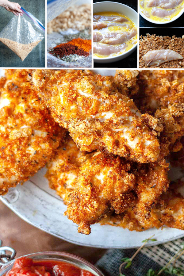 Crunchy, crispy and super dippable keto fried chicken! #lowcarb #keto #glutenfree #grainfree #healthy #recipe #almondflour #porkrinds #thighs #legs #wings #ovenbaked #airfryer #coconutflour #crispy #crunchy #proteinpowder #nuggets #dinners #paleo