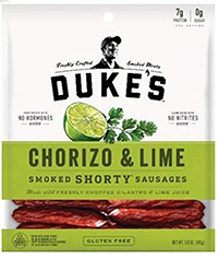 bag of the low carb beef jerky duke's smoked short sausage