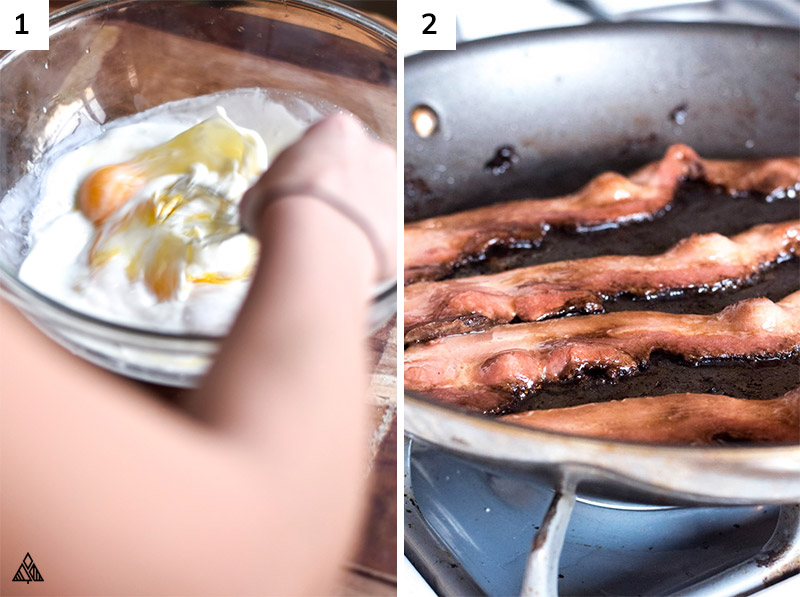 Person mixing the cream, hot sauce, salt, pepper, and cheese then cooking the bacon in a pan