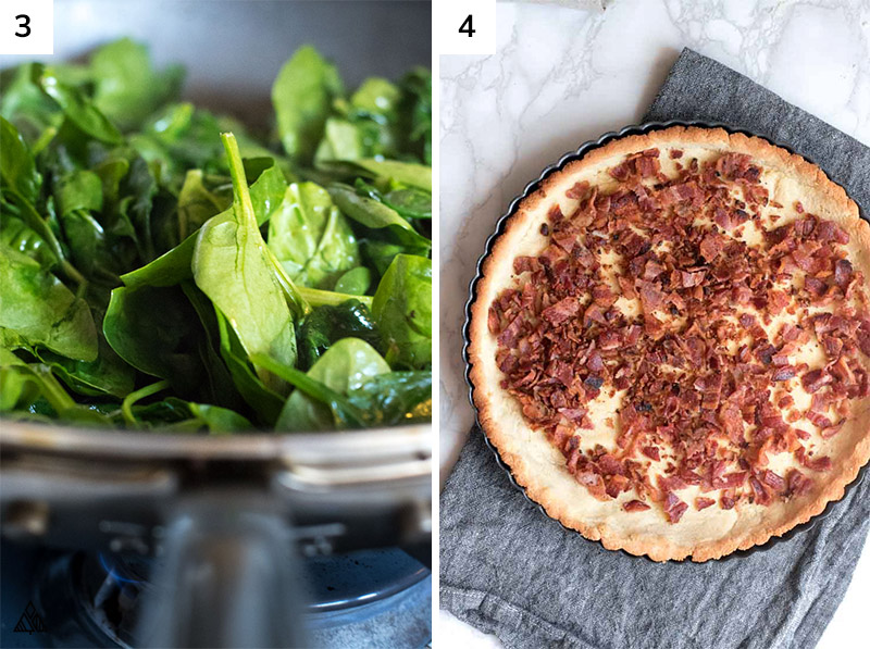 spinach and pie crust with bacon toppings