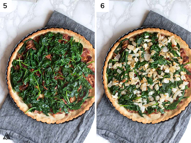 adding cooked spinach on the pie crust and other ingredients
