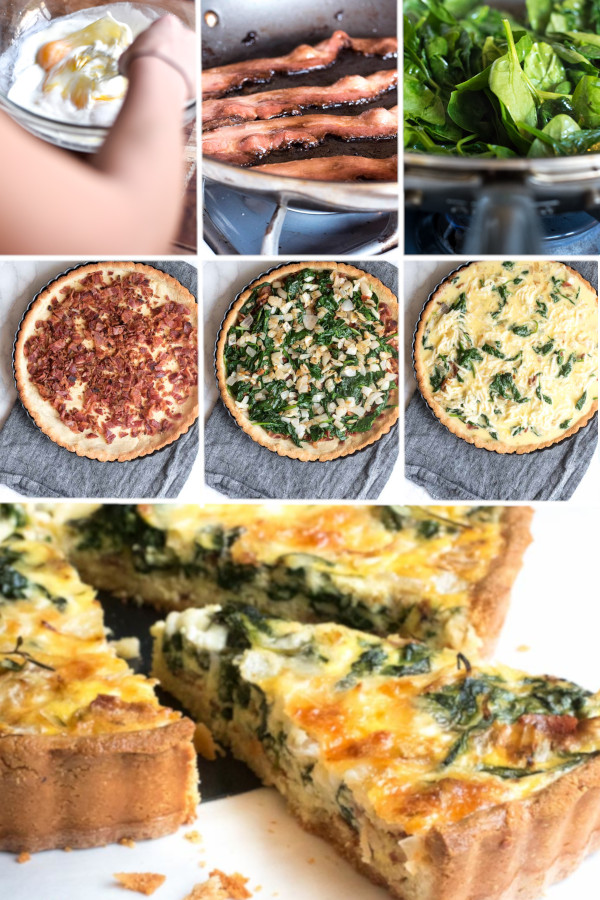 "This low carb spinach bacon quiche is the answer to your ""I don't want to get out of bed"" problem. #lowcarb #keto #glutenfree #grainfree #healthy #recipe #crustless #breakfast #veggies #spinach #bacon #eggs #onions #cheese #mozzarella #eggs #heavycream #oven #baked #weightloss"