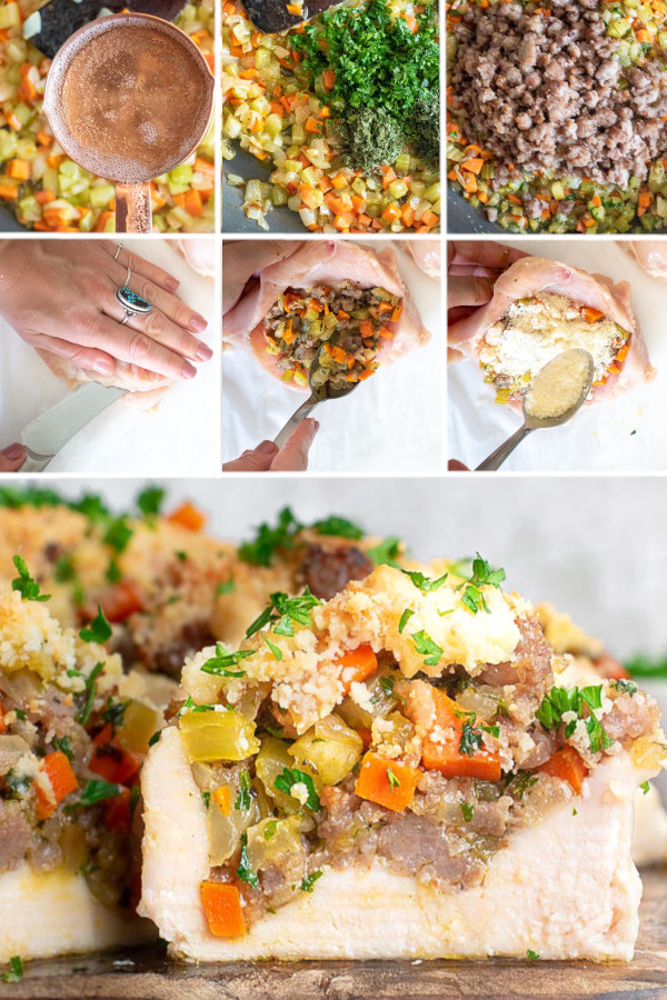 😍 What's the tastiest thing you've ever stuffed inside chicken? 😍 If you didn't say stuffing, that's because you haven't tried this low carb stuffing stuffed inside chicken recipe yet — it's going to rock your world. . Low carb stuffing is crazy easy to make — just skip the bread in your favorite sausage based stuffing recipe! Grab the recipe for this low carb stuffing in my bio link. #ketostuffedchickenbreastwithstuffing #lowcarbstuffedchickenbreastwithstuffing