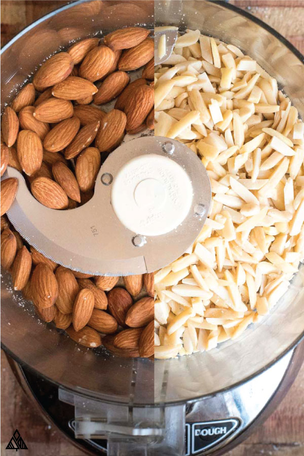 Almonds with skin and blanched almonds in a blender