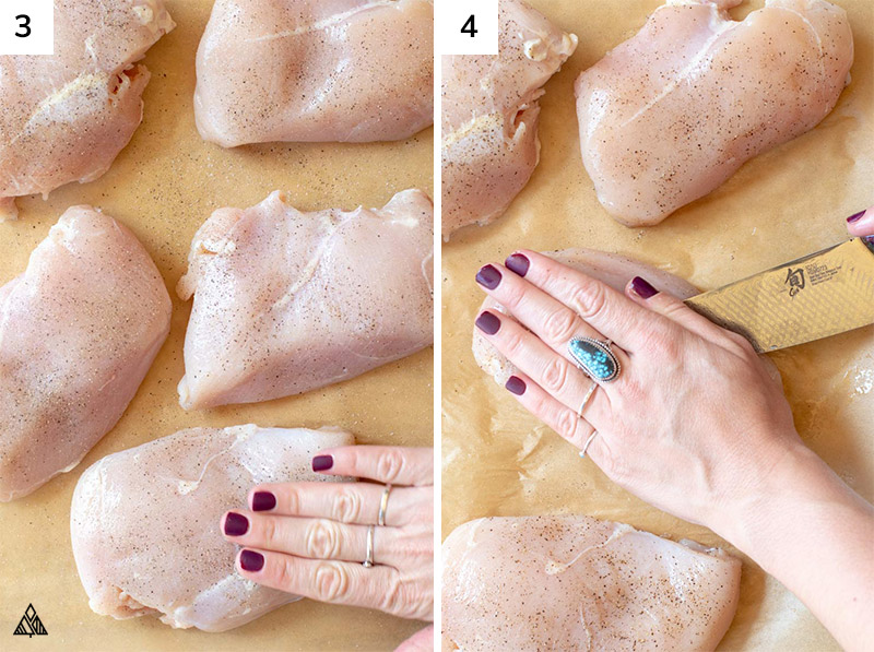 Slicing the chicken breast to for pockets