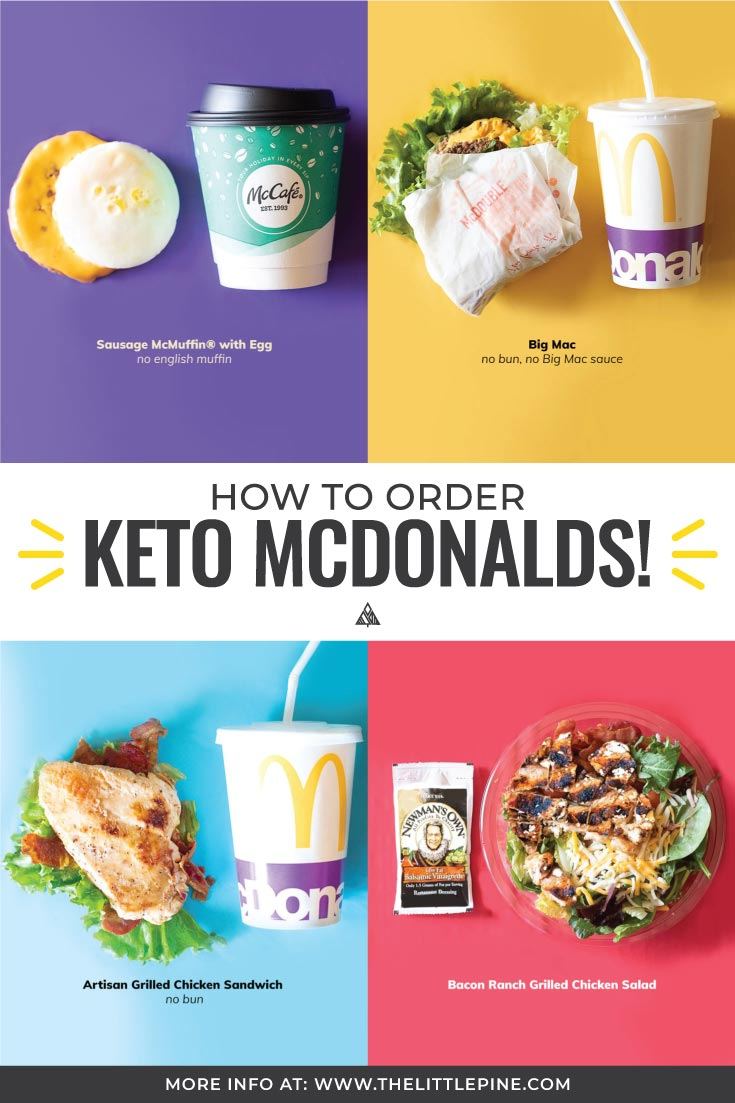 4 different low carb mcdonals orders with keto drinks