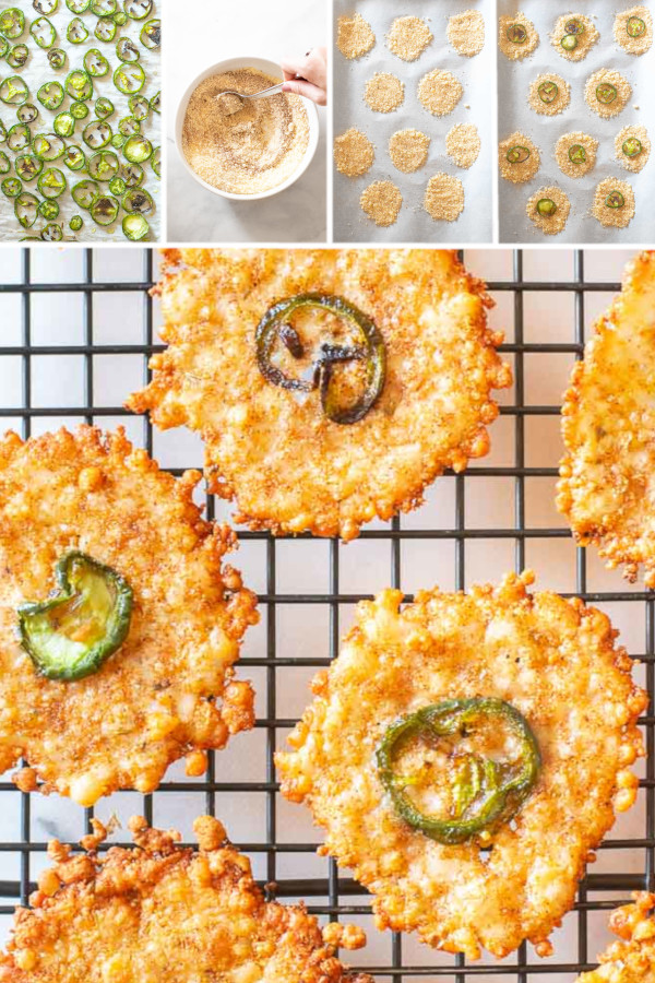 Do you think jalapeños are spicy? . Well, I do! Ha! (I'm sure most of you think I'm wimp after hearing that.) Spicy or not, I can't get enough of these jalapeño cheese crisps! #cheesecrisps #lowcarbcheesecrisps