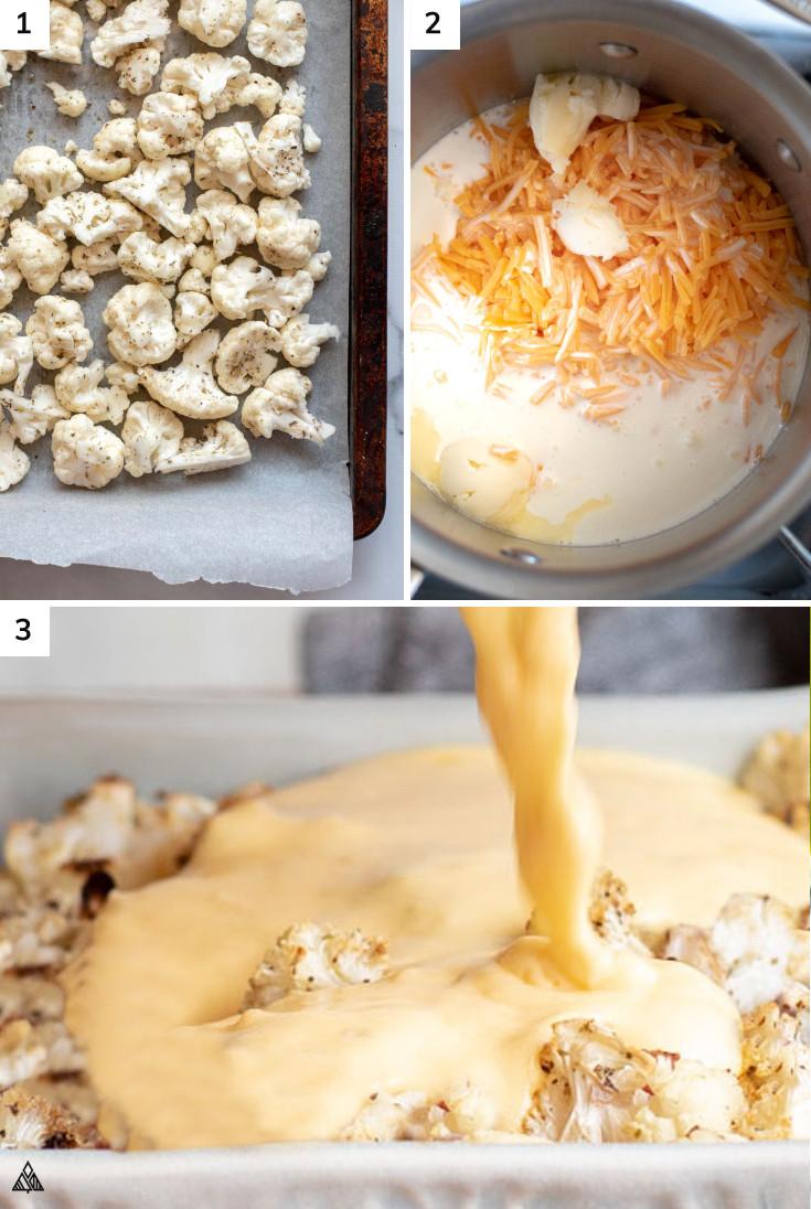 Process of making cheesy cauliflower