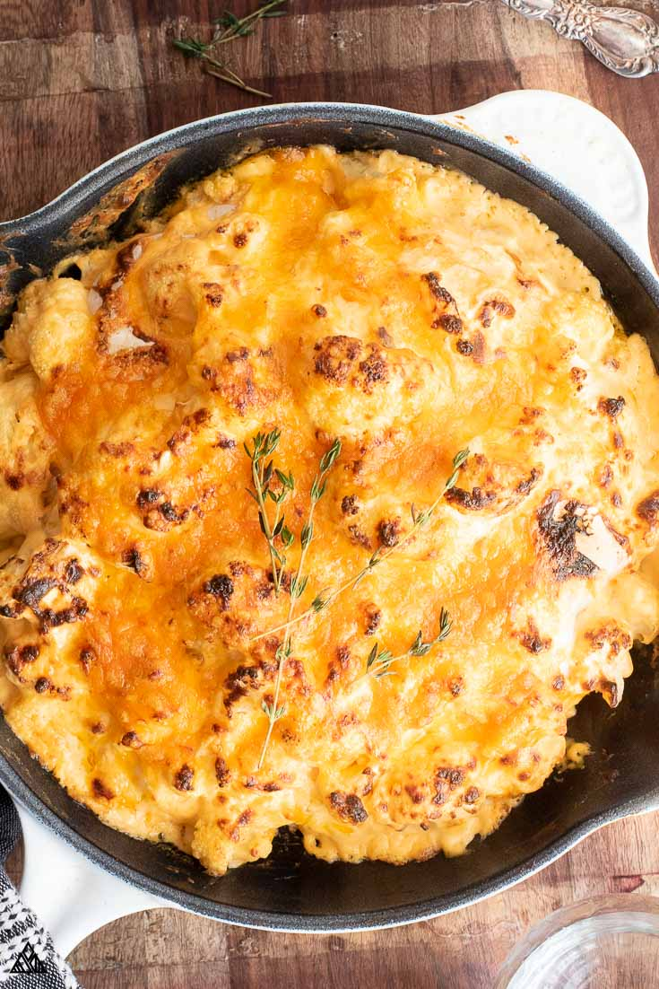Cheesy cauliflower in a pan