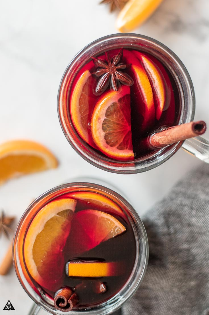 Top view of 2 glasses of mulled wine