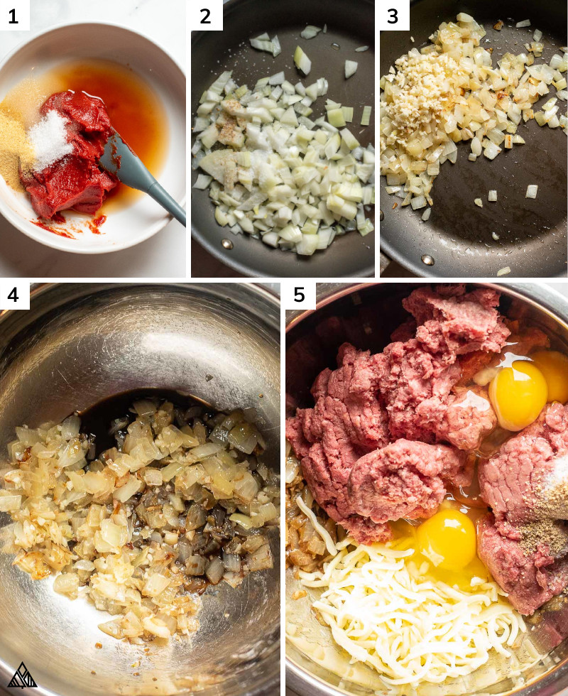 Steps in making low carb meatloaf