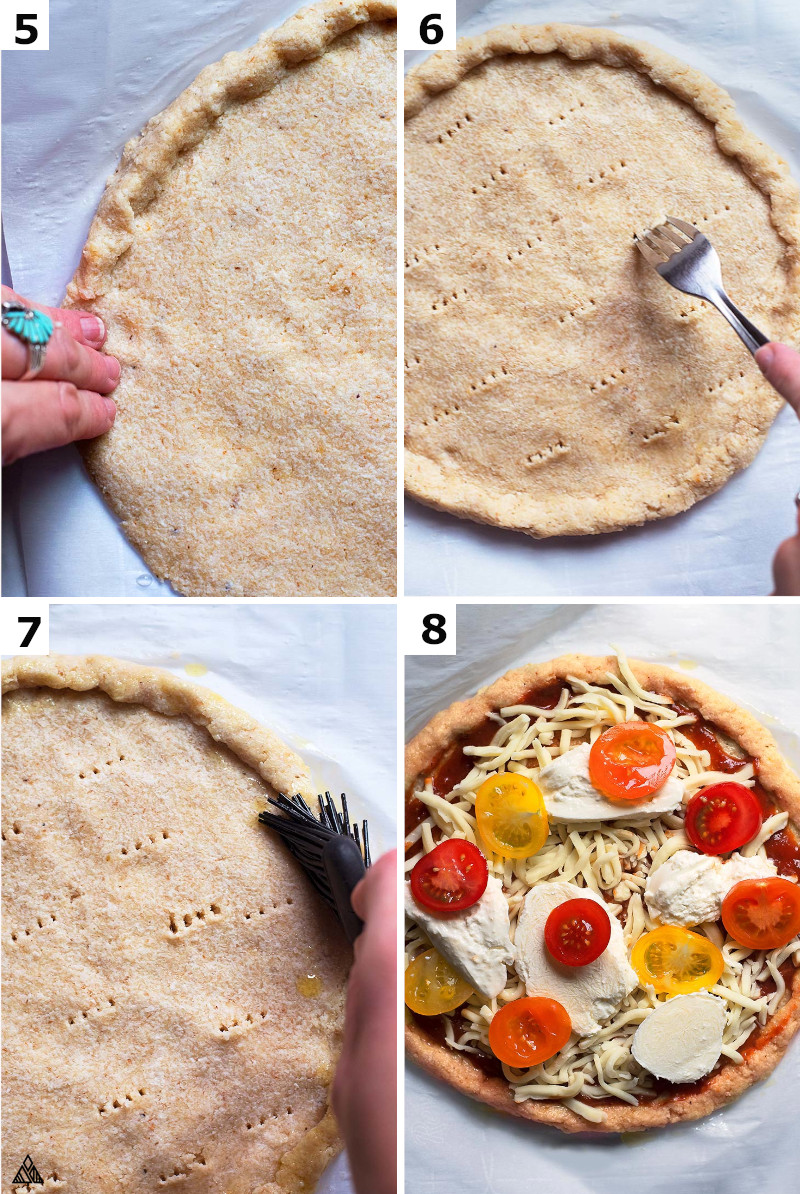 Steps 5 to 8, the last step in making low carb pizza dough