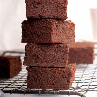 Keto brownies line vertically
