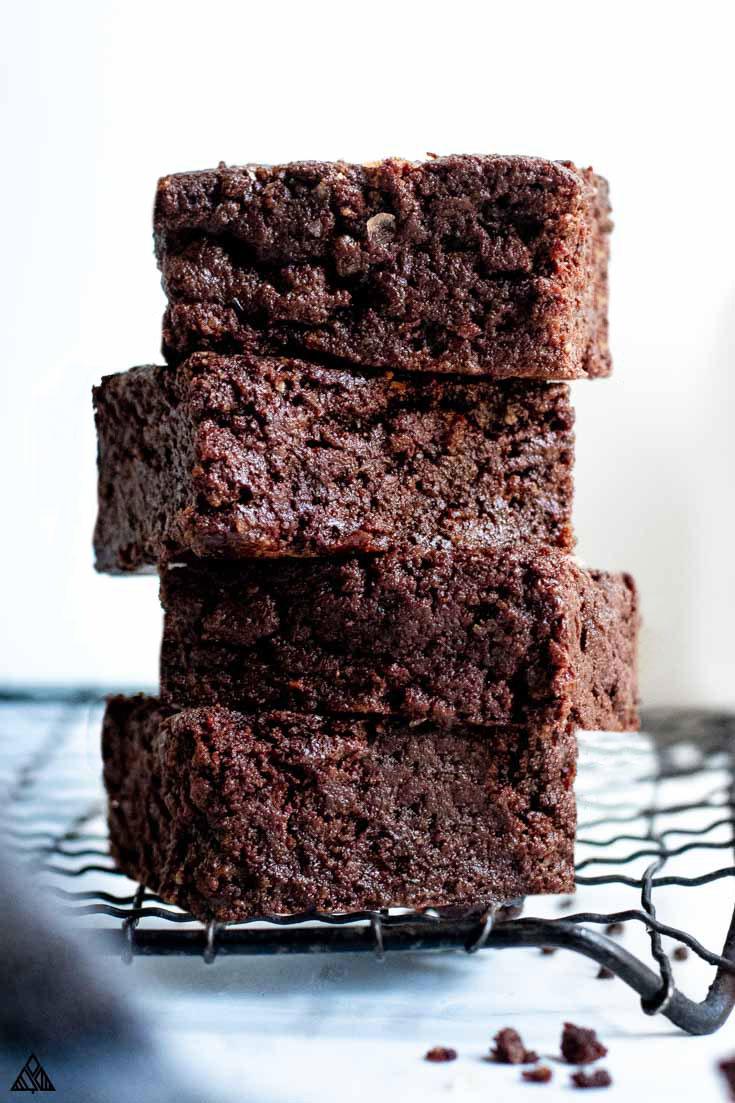 Sliced keto brownies lined vertically