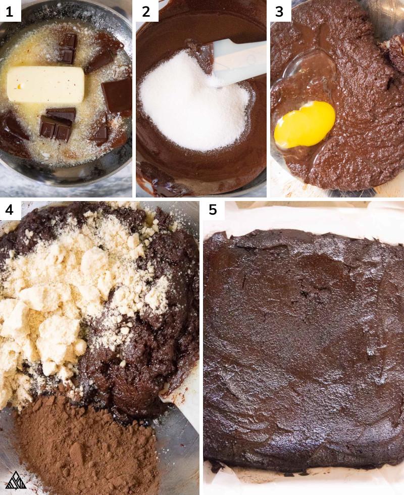 Steps in making keto brownies