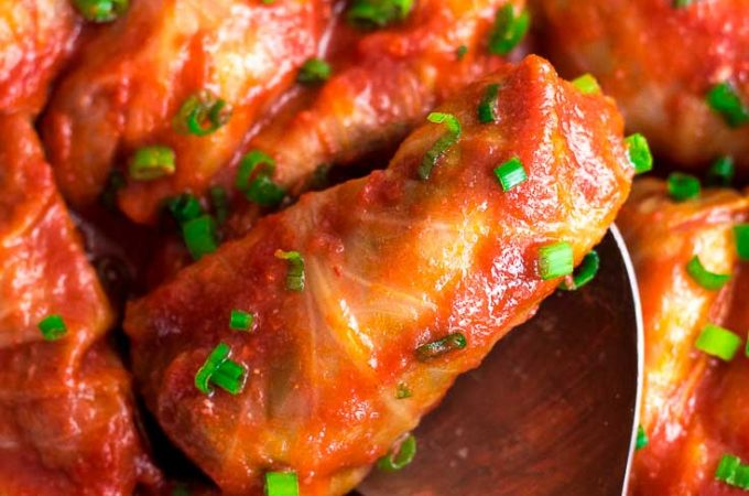 Keto cabbage rolls with sprinkles of green onions