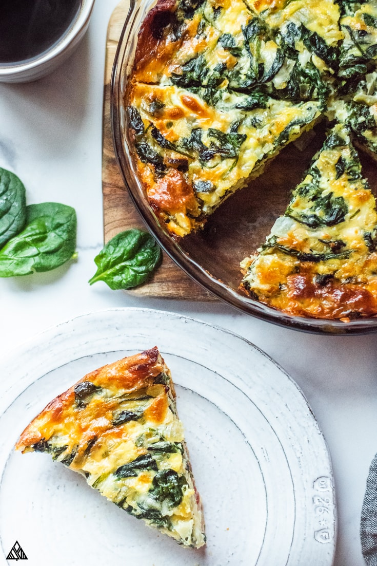 Keto quiche in a plate and on top of the chopping board