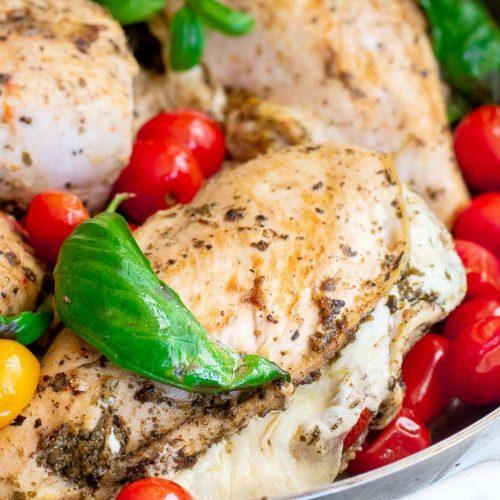 Mozzarella stuffed chicken in a plate
