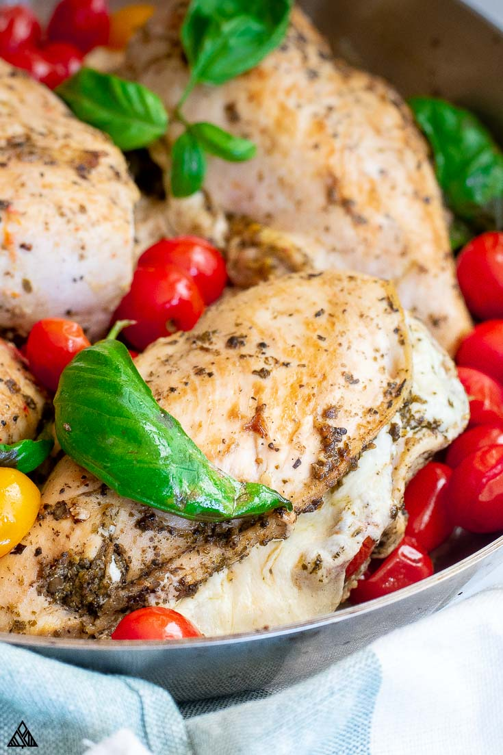 Mozzarella stuffed chicken in a plate