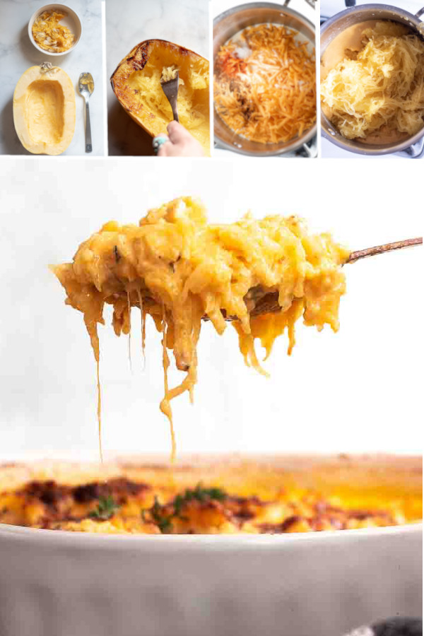 How do you make a delicious cheesy sauce without flour you ask? 🤩🤩🤩 . Easy, hint: it'll make your meal even CHEESIER! #ketospaghettisquash #lowcarbspaghettisquash