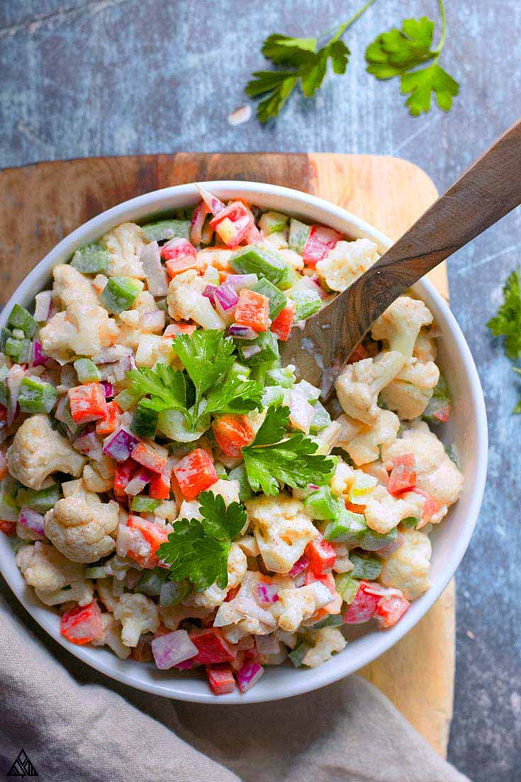 Top view of cauliflower salad in a bowl