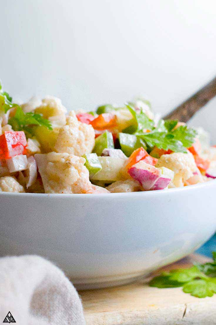 Closer look of cauliflower salad in a bowl