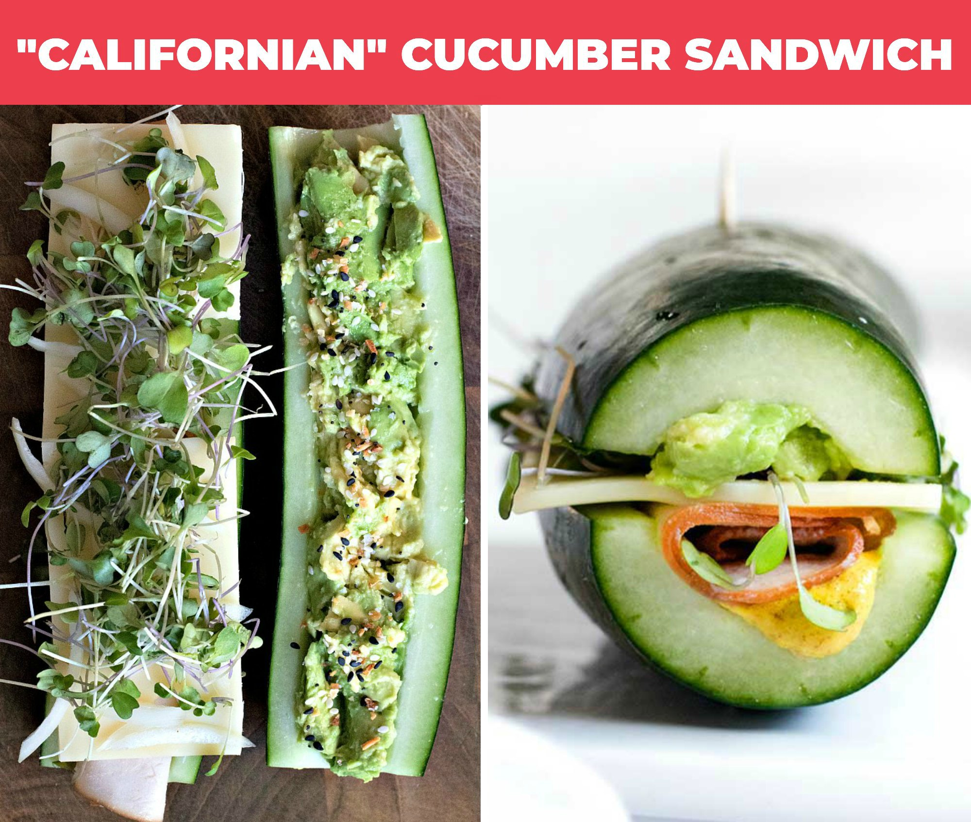 "collage of ""californian"" cucumber sandwich"