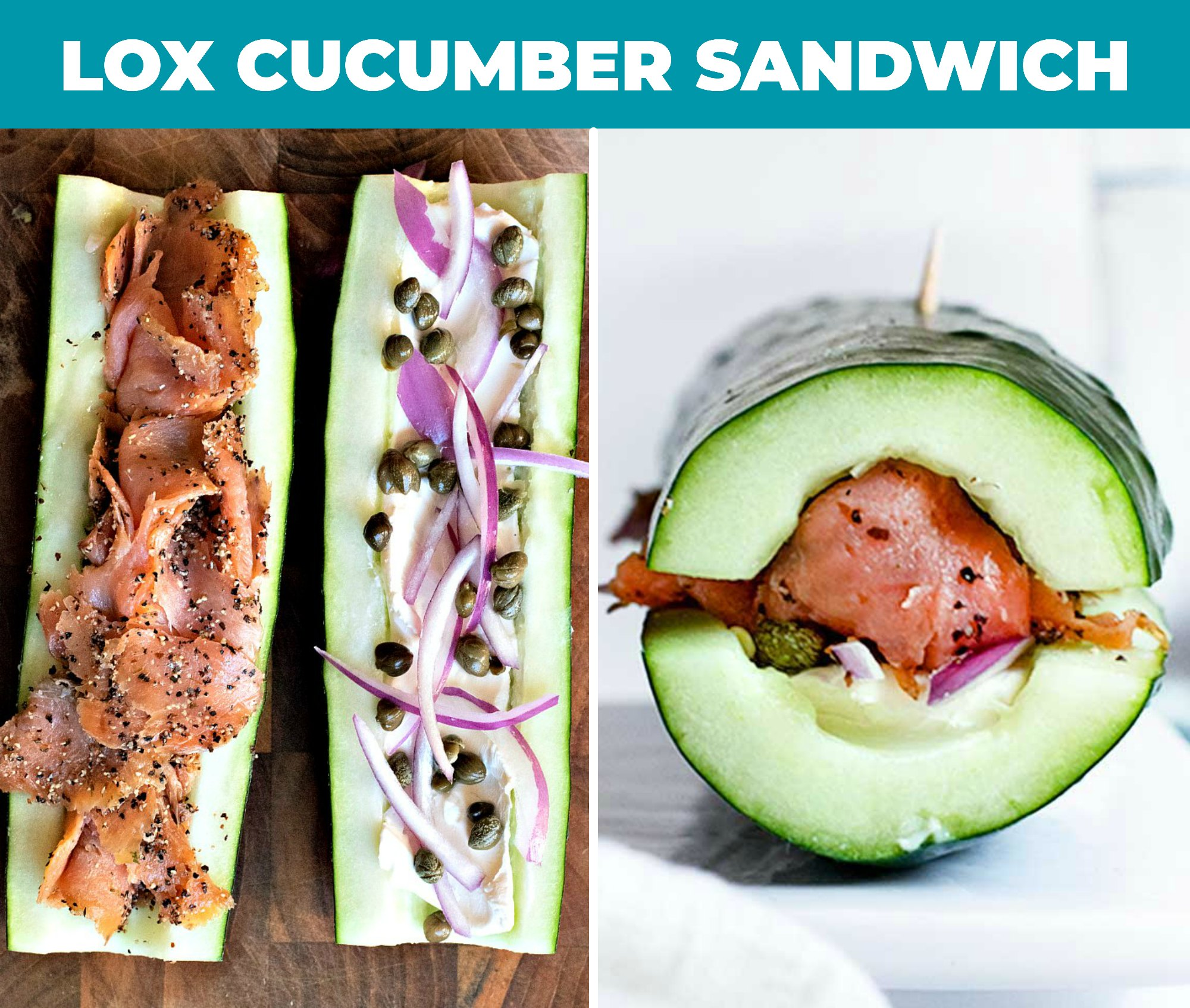 collage of lox cucumber sandwich