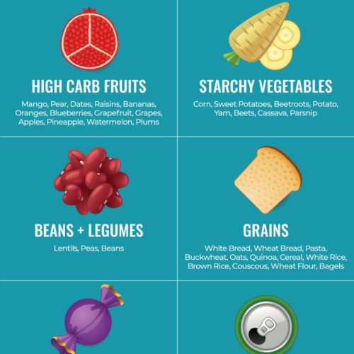 Infographic of the top 6 high carb foods categories