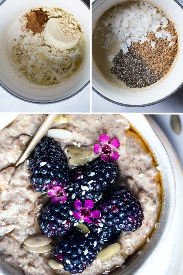 """What're you favorite low carb oatmeal toppings? ❤️❤️ . I LOVEEE fresh berries, low carb nuts and maybe a dash of sugar free syrup! But sometimes I get suuuper fancy and make a """"""""Nutella"""""""", a PB+J or a """"""""Reese's"""""""" inspired bowl #lowcarboatmeal #ketooatmeal"""