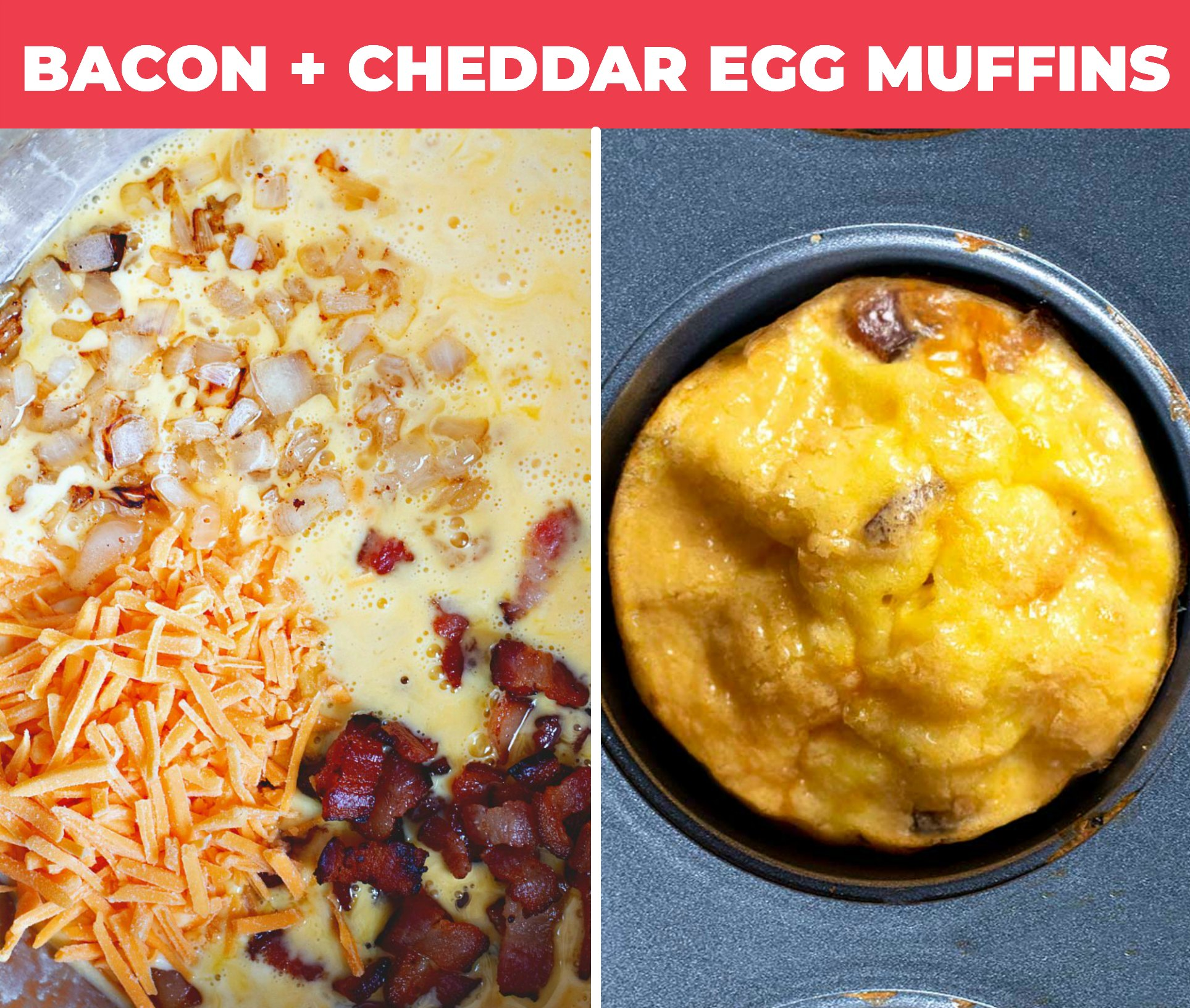collage of bacon + cheddar egg muffins