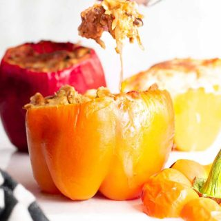 Stuffed peppers and a spoonful