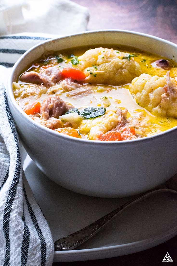 keto chicken dumplings in bowl