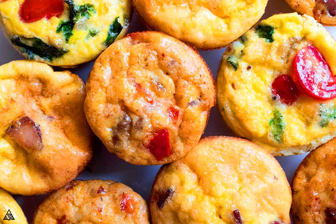 Top view of egg muffins