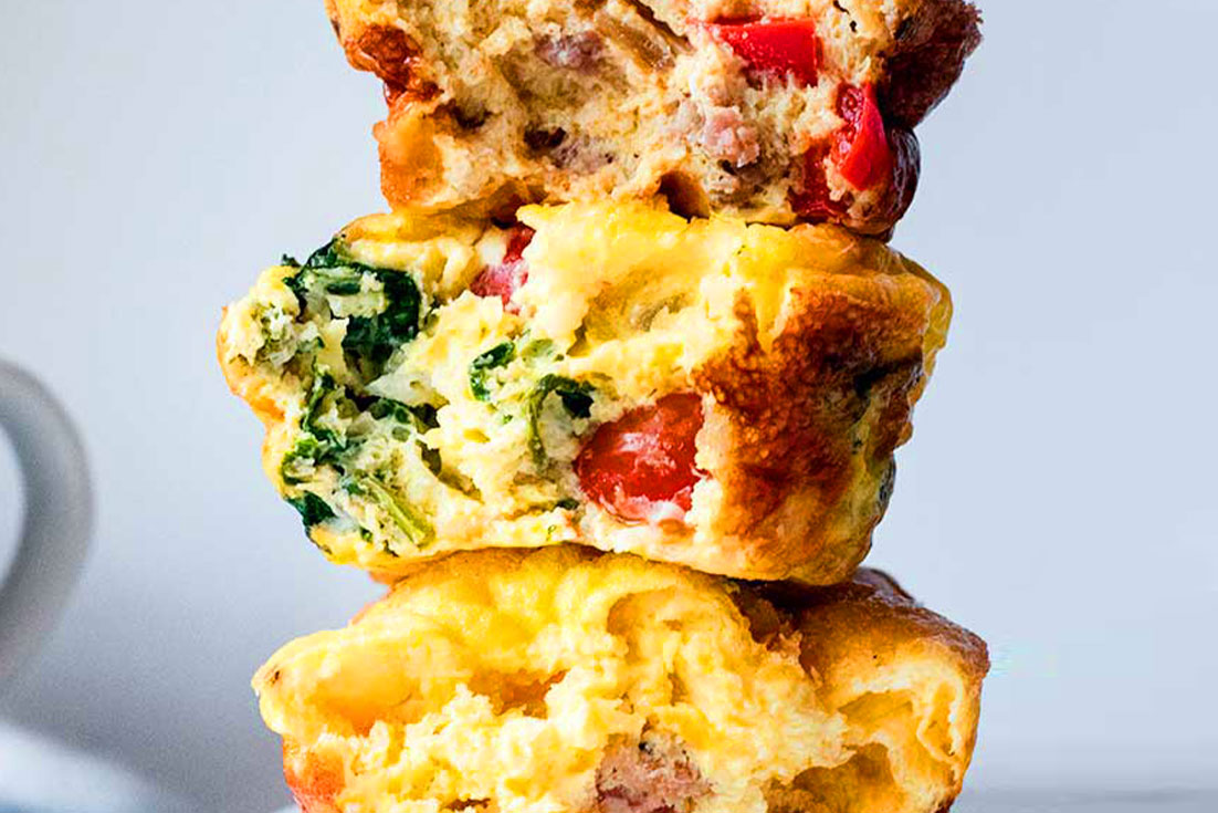 Stack of bitten egg muffins