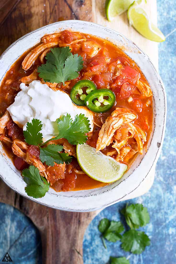 Top view of low carb taco soup