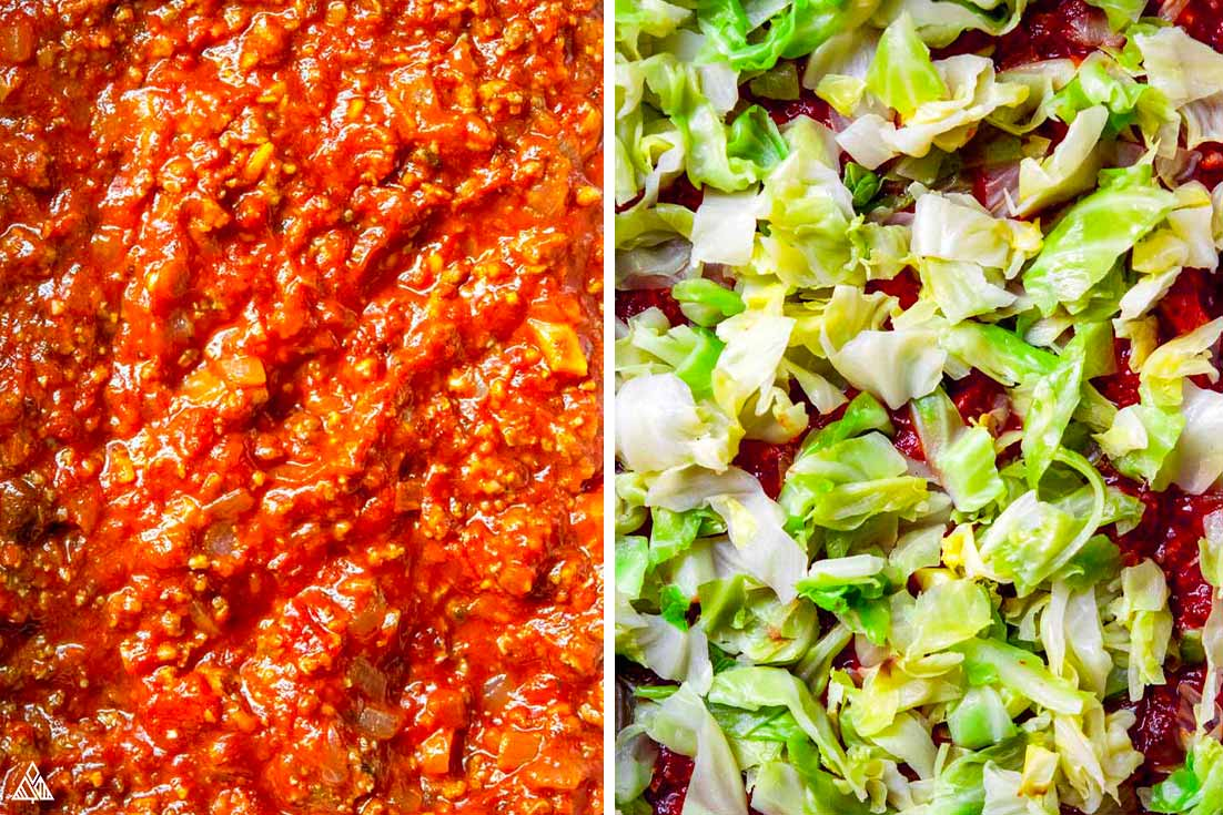 Ingredients for cabbage lasagna